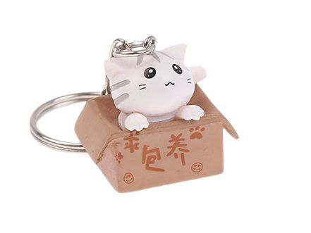 Cat In A Box Keyring - White Cat With Grey Stripes
