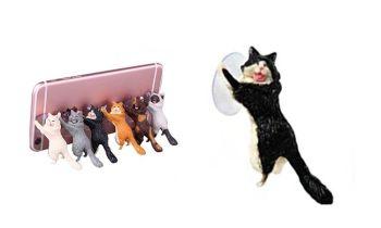 Laughing Cat Mobile Phone Holder - Black & White Cat