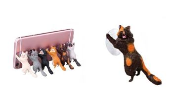 Laughing Cat Mobile Phone Holder - Tortie Cat