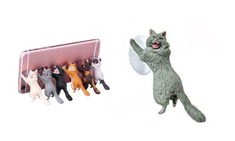 Laughing Cat Mobile Phone Holder - Grey Cat