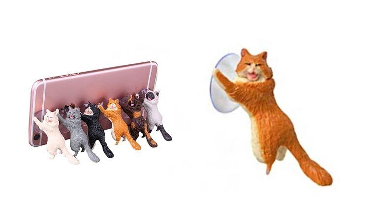 Laughing Cat Mobile Phone Holder - Orange & White Cat
