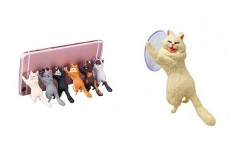 Laughing Cat Mobile Phone Holder - White Cat