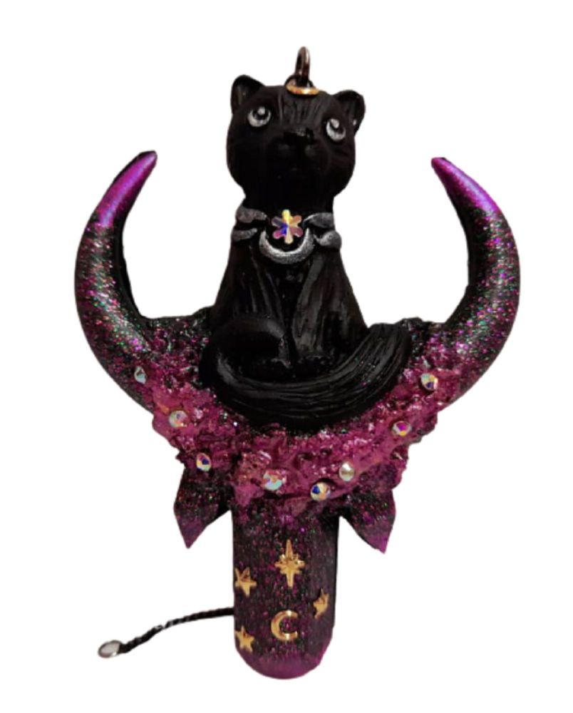 Cat On Crystal Moon Hanging Decoration