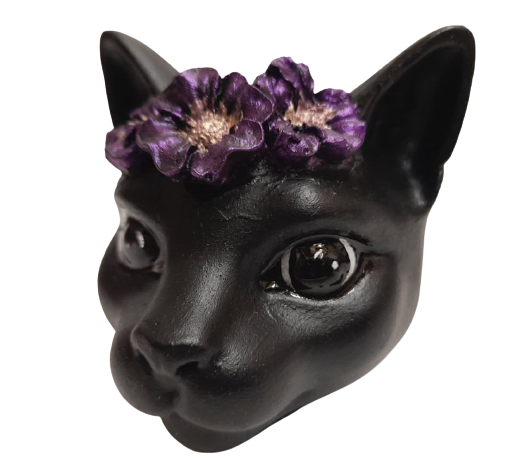 Black Cat Stone Paper Weight With Purple Flowers