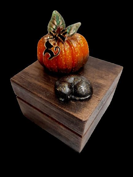 Small Wood Sleeping Cat & Pumpkin Trinket Box