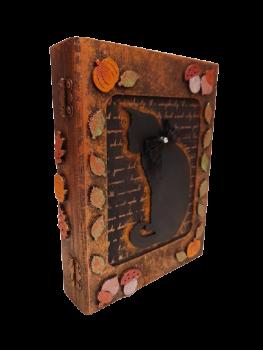 Black cat, Pumpkin & Leaf Book Box