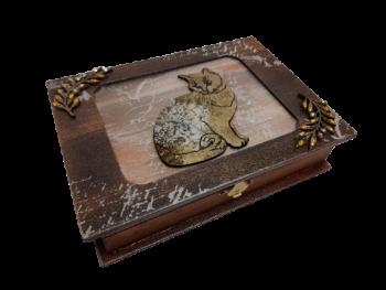 French Script Gold Cat Box