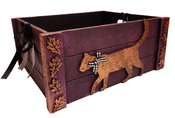 Medium Wooden Storage Crate With Gold Cat & Plaid Buffalo Ribbon