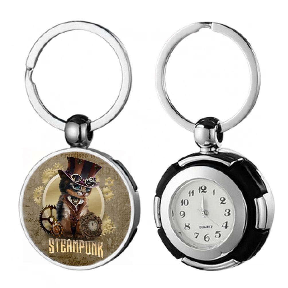 Keyring Pocket Watch - Steampunk Cat
