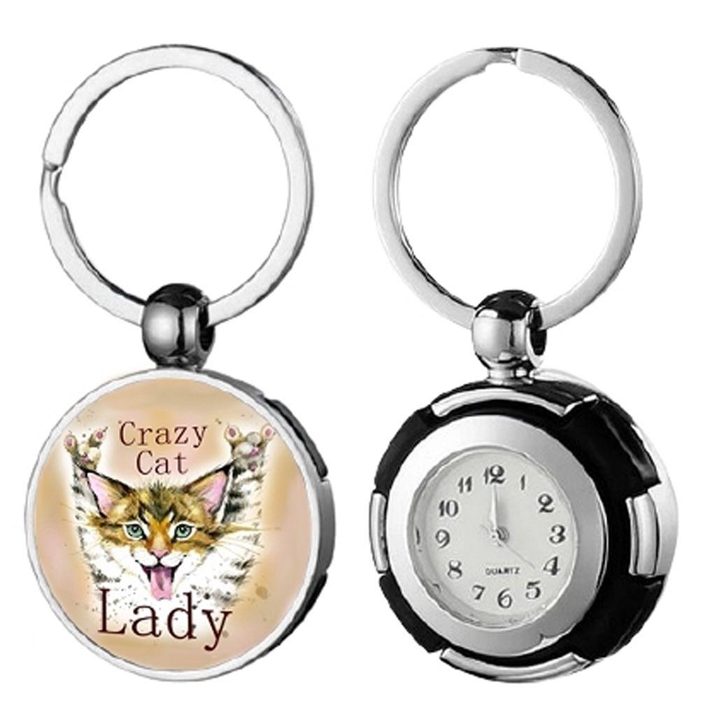 Keyring Pocket Watch - Crazy Cat Lady