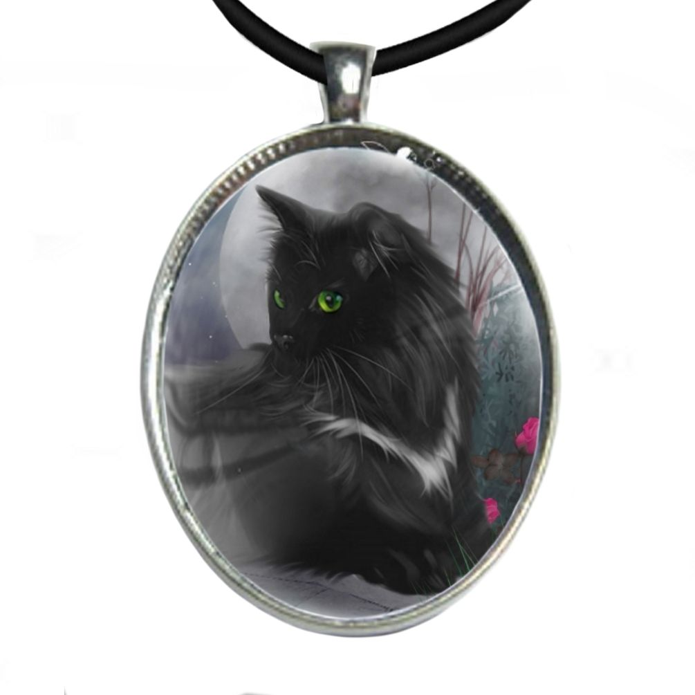 Silver Plated Large Oval Cabochon Necklace - Midnight