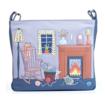 Knitting Cats Large Leather Cross Body Bag - 723553