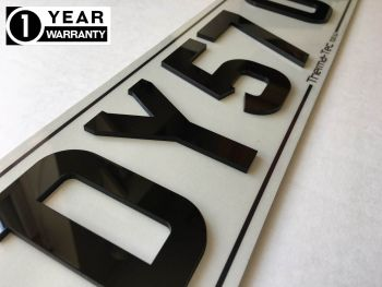 Motorcycle Laser Cut Number Plate Characters Gloss Black DIY 7 Piece Kit