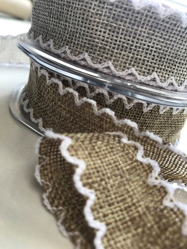 Crochet edged, Faux Burlap ribbon
