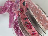 Crochet edged pretty ribbon in pinks