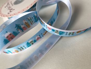 Christmas Village Day-time scene ribbon SALE NOW 60P PER METER