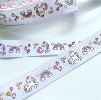 NEW Unicorn and Rainbow grosgrain ribbon