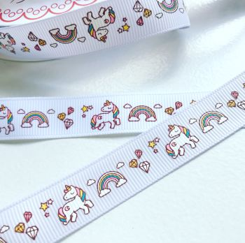 NEW Unicorn and Rainbow grosgrain ribbon