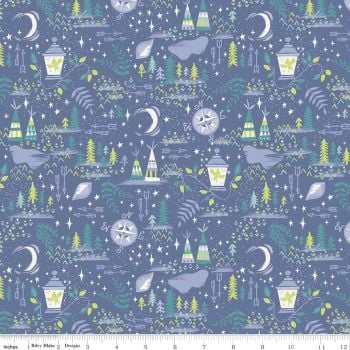 Peter Pans Never Land Fabric - Available in Blue or pink background