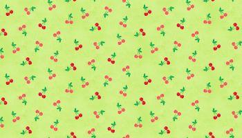 Cherries fabric in Green