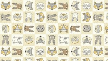 Forest Animal faces - Makower fabrics