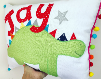 Personalised Dinosaur cushion, kids birthday gift idea