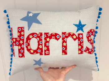 Boy stripe personalised name cushion