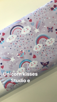 Unicorn Kisses - fun cloud fabric, cotton fat quarters, Clothwork fabric