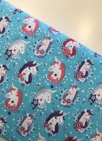 Blue Unicorn fabric - Michael Miller designs