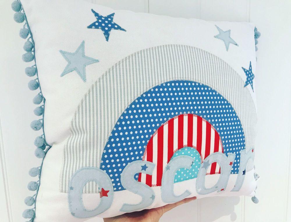 Rainbow name cushion - personalised