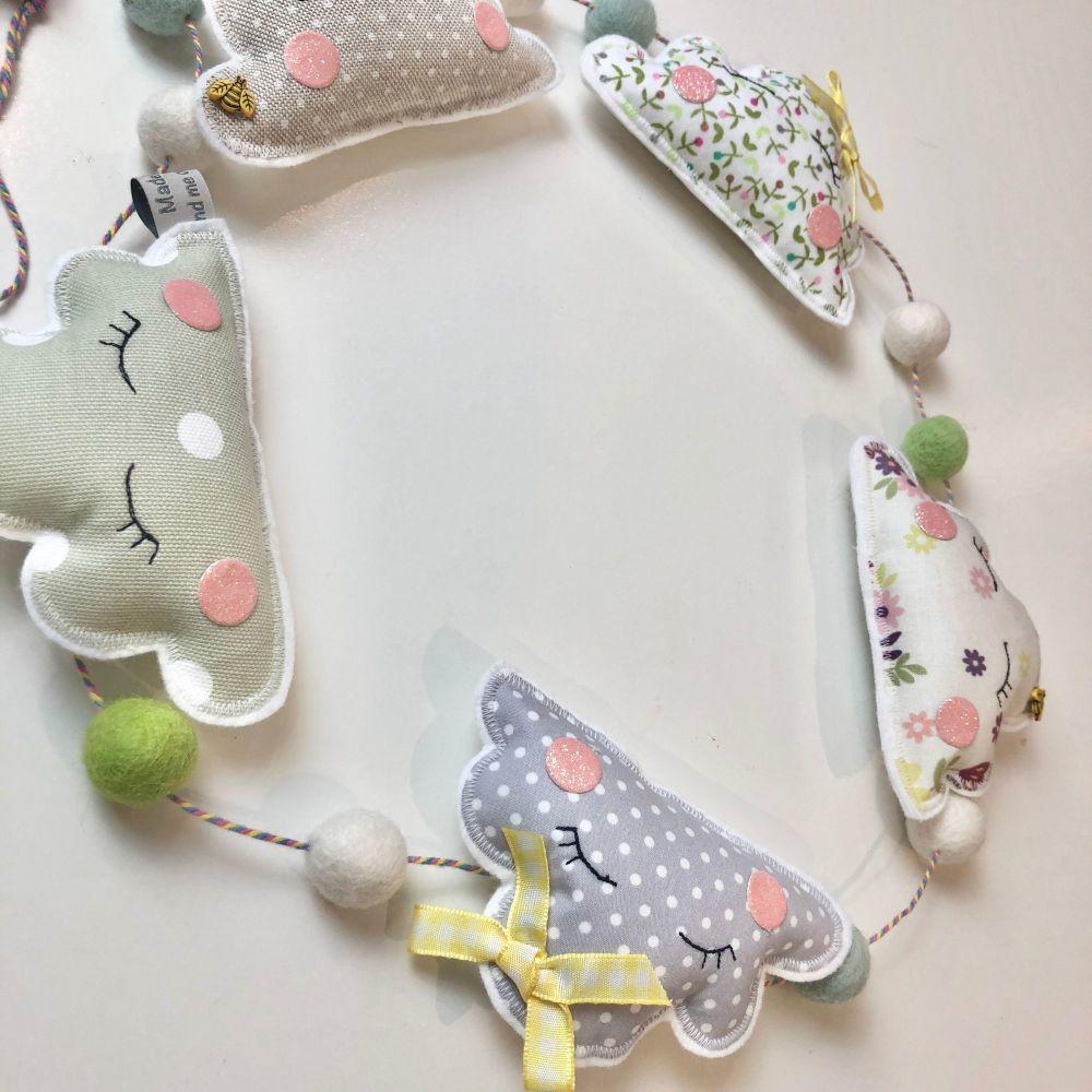 Cloud and felt ball garland - Nursery decor