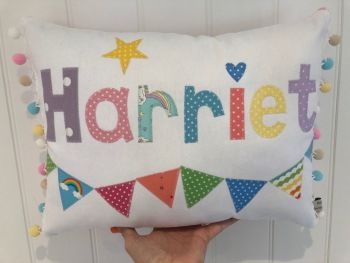 Rainbow colours Name Cushion - Girls