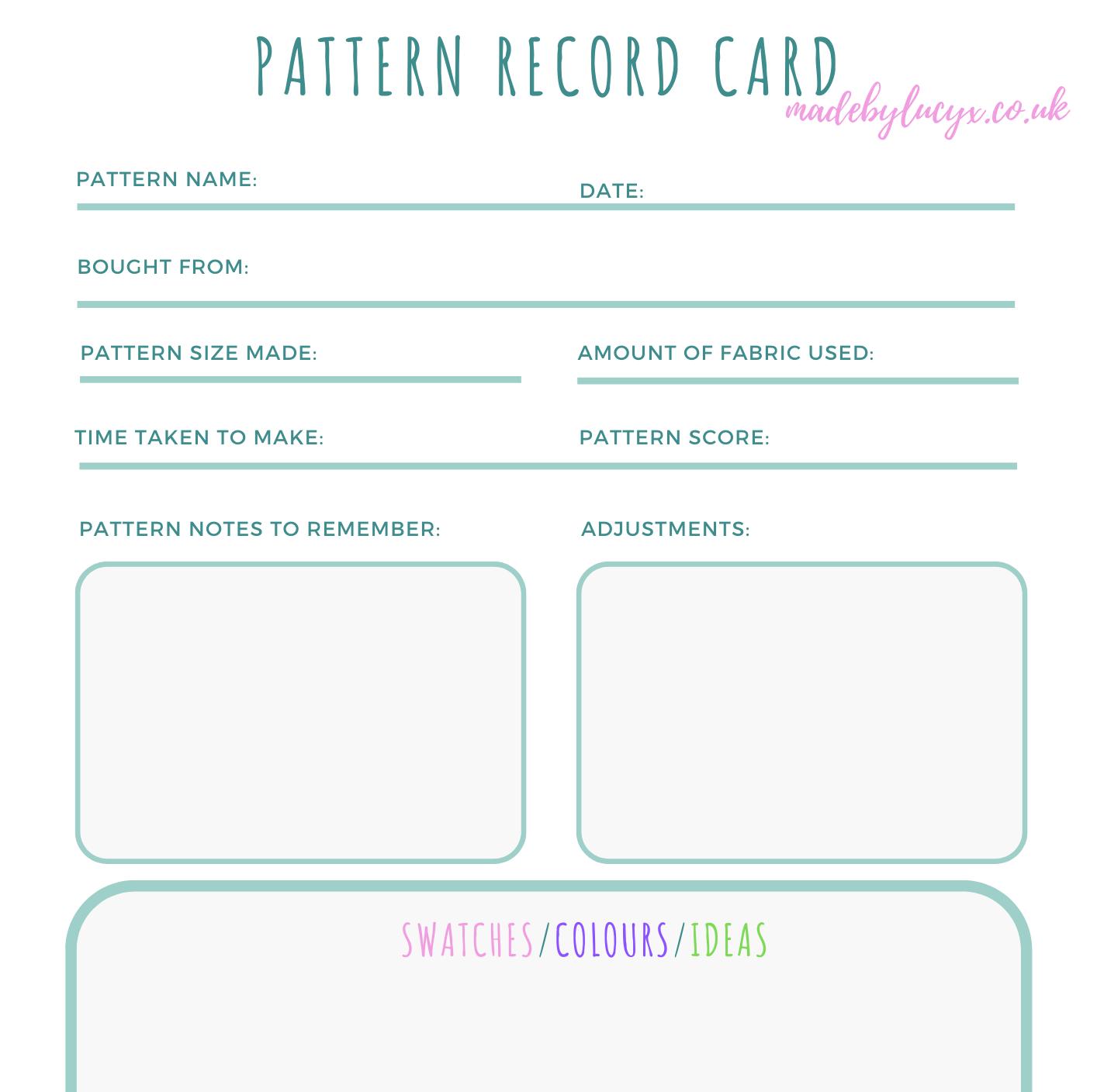 Pattern record Card
