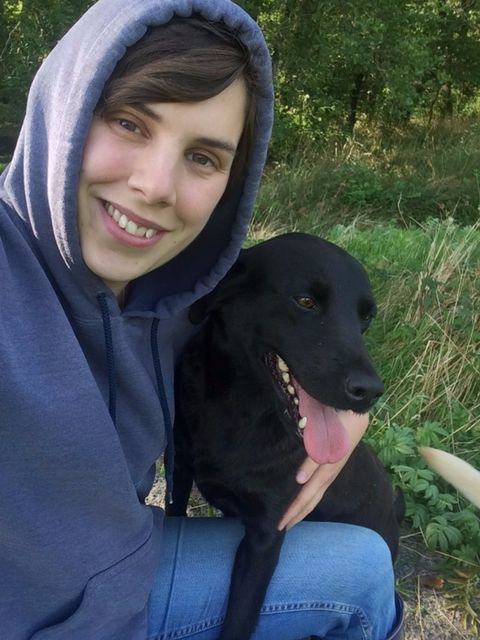My girl, Purdey, and me relaxing mid-walk