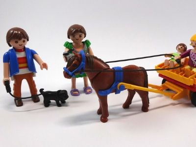Playmobil horse and carriage with dog