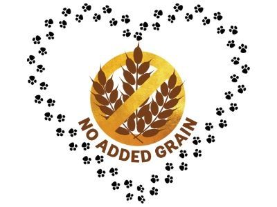 Grain free logo within paw print heart