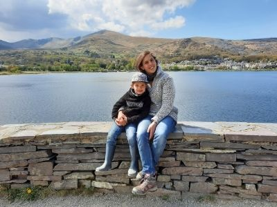 My eldest son and me at Llyn Padarn