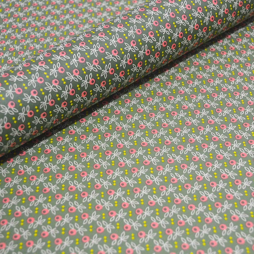 Moss Green Geometric Flower Pattern