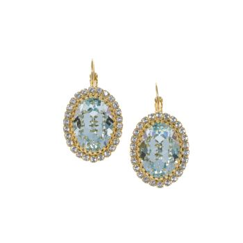 Light Azore Blue Crystal Crown Earrings