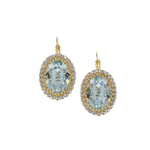 Light Aqua Blue and Crystal Crown Earrings