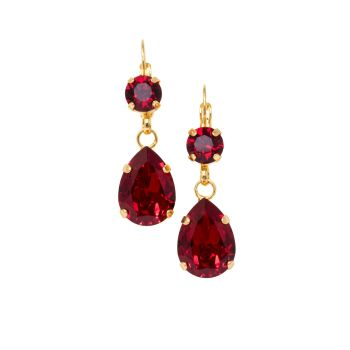 Ruby Crystal Double Drop Earrings