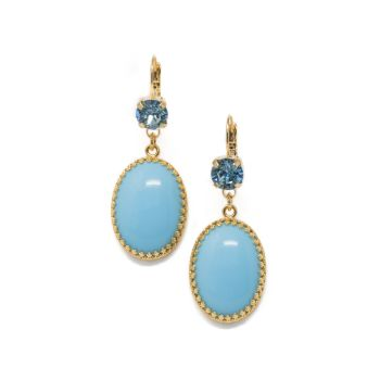 Turquoise and Aquamarine Crystal Earrings