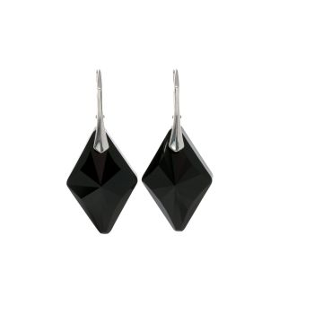 Sterling Silver Black Deco Crystal Earrings