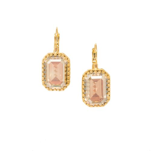 Golden Shadow Crystal Crown Earrings