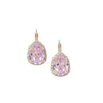 Pink Pear Crystal Earrings