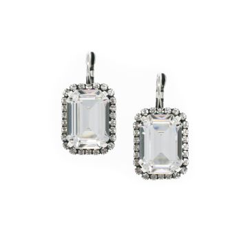 Large Crystal Octagon Earrings