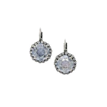 Blue-Grey Cushion Crystal Earrings