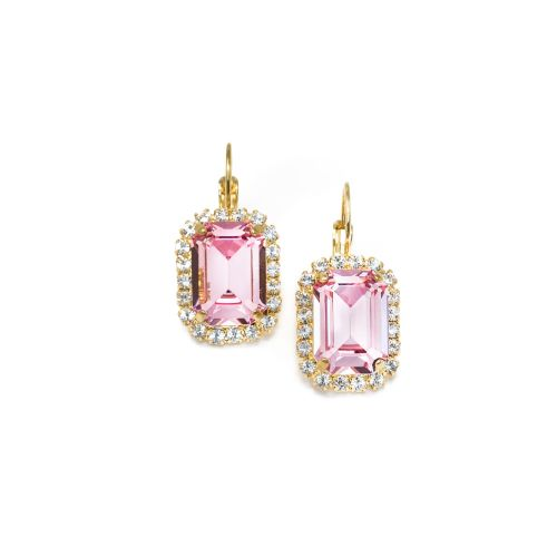 Light Rose Pink and Crystal Octagon Earrings - Small