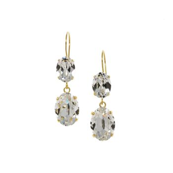 Oval Double Drop Crystal Earrings