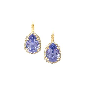 Lavender Pear Crystal Earrings